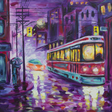 Rainy Night Couple (Red) painting by Casey O'Neill