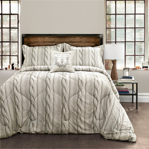Printed Cable Knit Comforter Set by Lush Decor