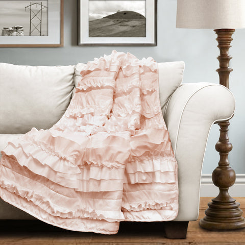 Belle Pink Blush Throw By Lush Decor