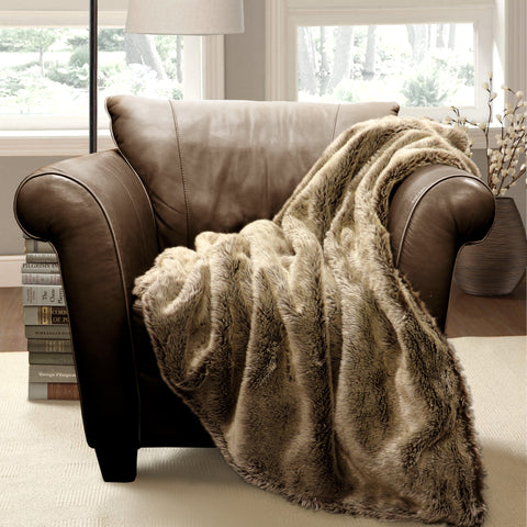 Faux Wolf Fur Throw by Lush Decor