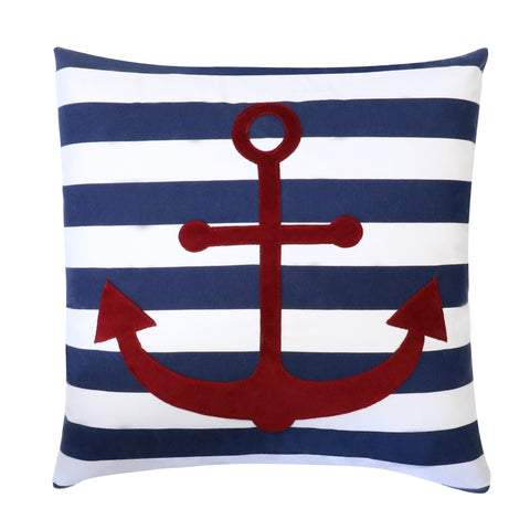 Anchor Stripe Navy Decorative Pillow