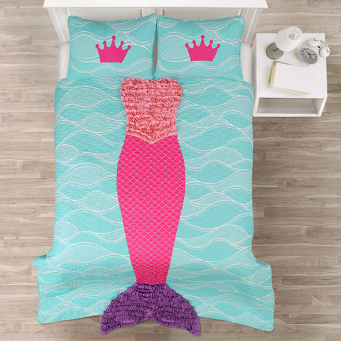 Mermaid Ruffle Quilt Set by Lush Decor