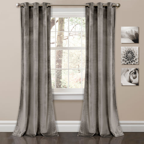 Prima Velvet Solid Window Curtain Panel Set