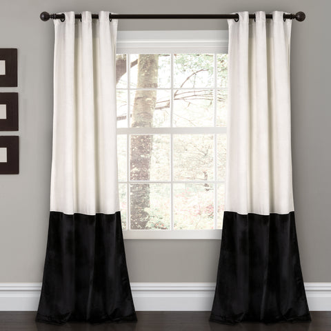 Black and White Prima Velvet Color Block Curtains