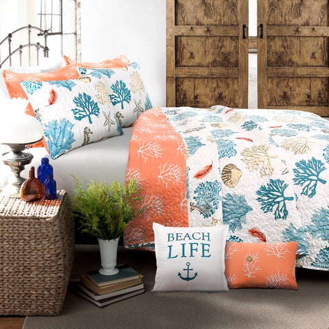 Coastal Reef Feather Quilt Set by Lush Decor