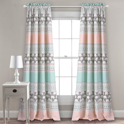Elephant Stripe Room Darkening Window Curtain Set
