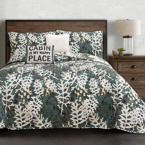 Camouflage Leaves Quilt Set by Lush Decor
