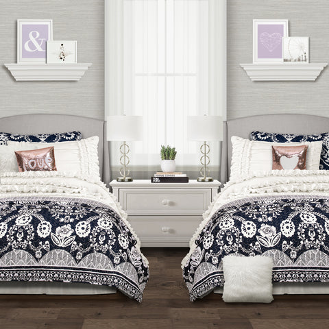 Belle Comforter Set paired with Rosetta Floral Quilt Set