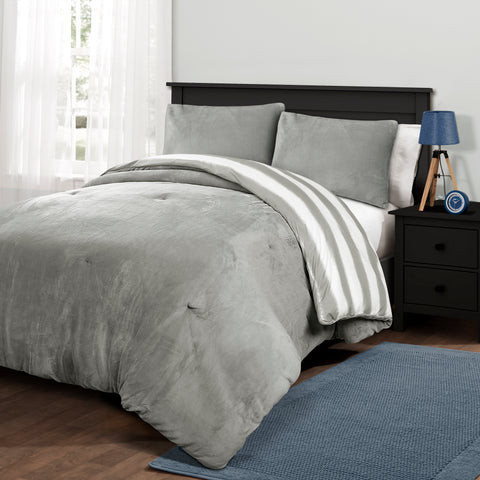 Plush Stripe Comforter Set by Lush Decor