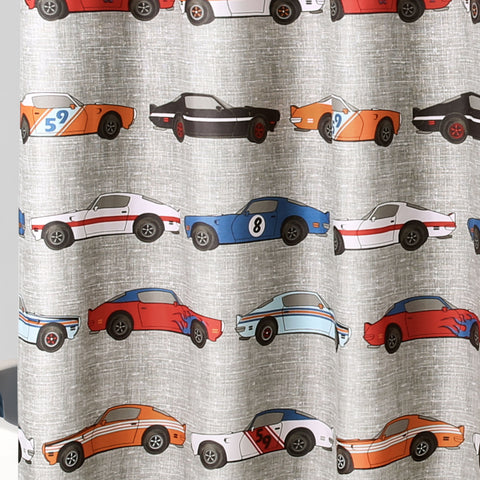 close up of race cars shower curtain by Lush Decor