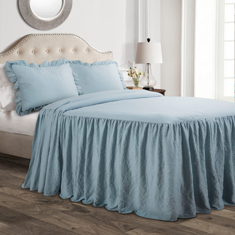 Blue Ruffle Skirt Bedspread Set by Lush Decor
