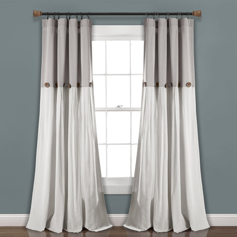 Linen Button Window Curtains by Lush Decor