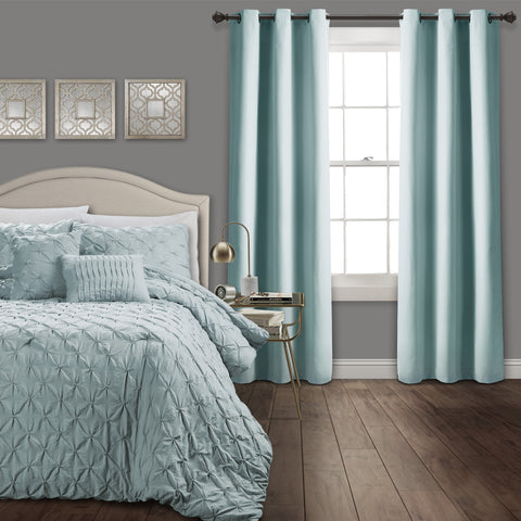 Ravello Pintuck Comforter with Absolute Blackout Window Curtains