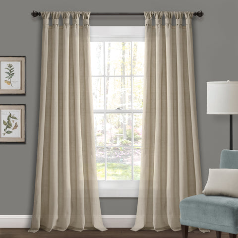 Burlap Knotted Tab Top Curtains