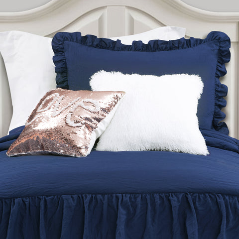Allison Ruffle Skirt Bedspread Set with Mermaid Sequins and Luca Fur Decorative Pillows