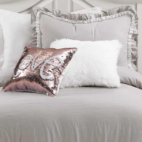 Ella Shabby Chic Ruffle Lace Comforter with Luca Fur and Mermaid Sequins Decorative Pillows