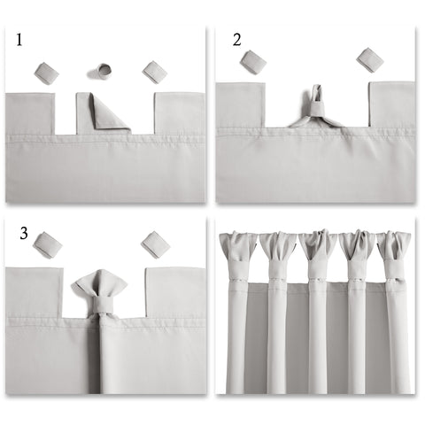 How to hang knotted tab top curtains