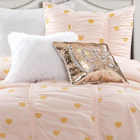 Distressed Metallic Heart Print Comforter with Luca Faux Fur Pillow and Mermaid Sequins Pillow