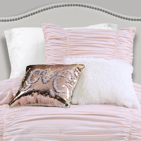 Ruching Ticking Stripe Comforter Set with Mermaid Sequins and Luca Fur Pillows