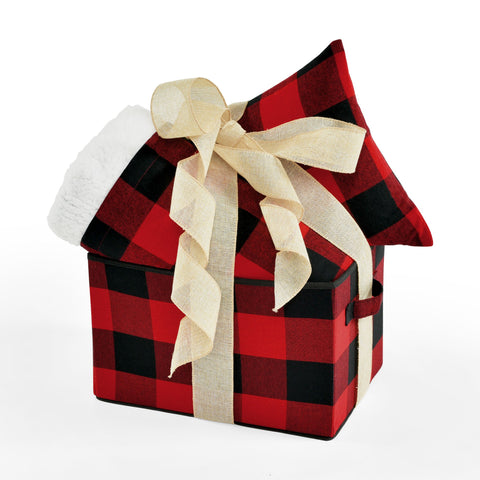 Woven Buffalo Check Gift Box Set in Red/Black