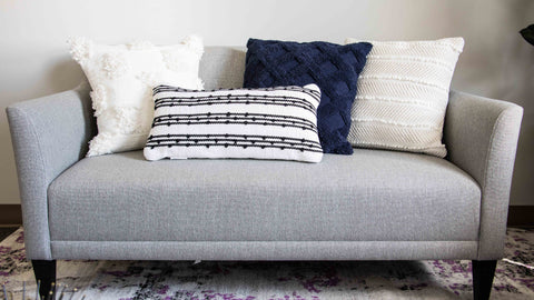 Decorative accent pillows on a couch