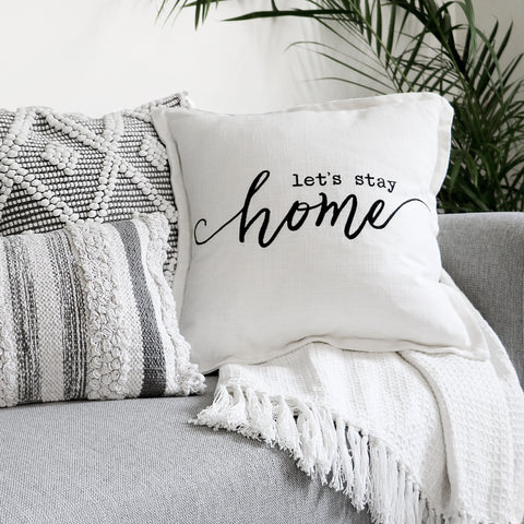 Hygge Cozy Curated Decorative Pillows On A Couch