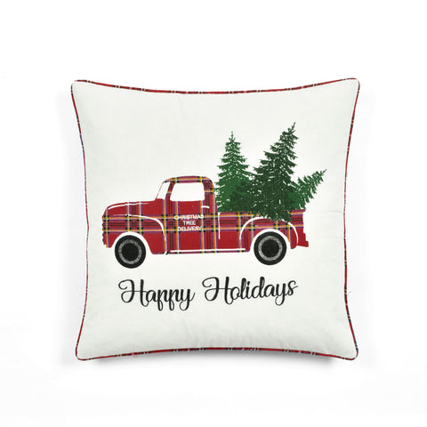 Holiday Truck Plaid Embroidery Script Decorative Pillow Cover by Lush Decor