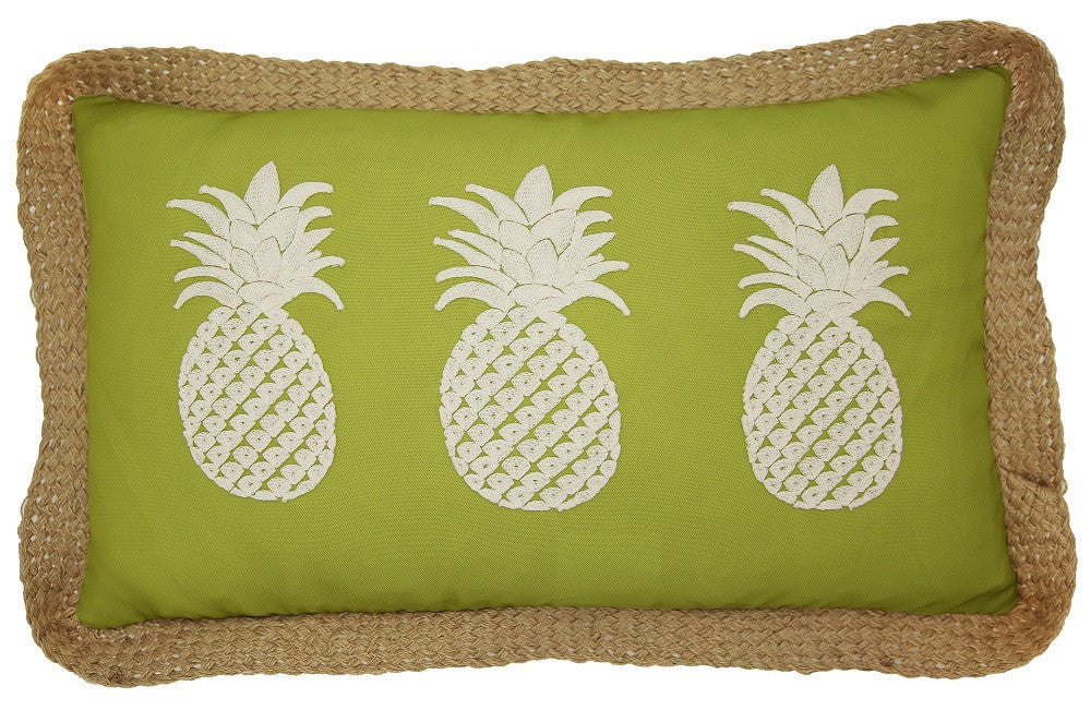 3 Pineapples Outdoor Pillow by Lush Decor