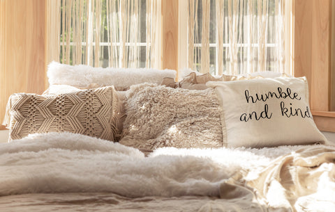 boho neutral curated pillows
