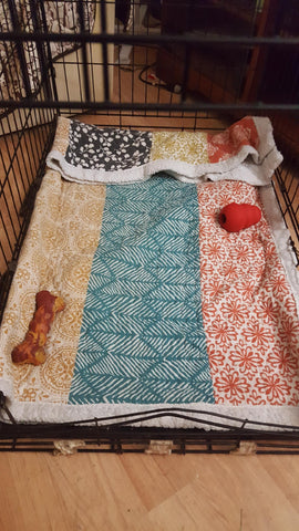 Bohemian Stripe Throw Sherpa in dog crate