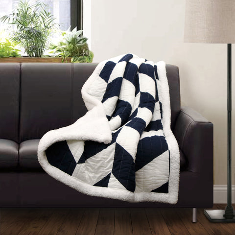 Jigsaw Chevron Throw Sherpa