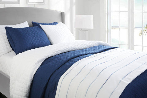 Navy Ombre Stripe Yarn Dyed Cotton Blanket/Coverlet by Lush Decor
