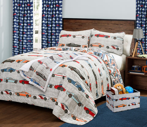 Race Cars Quilt Set, Curtains, Throw and Storage