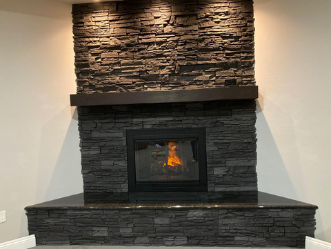 fire place with glass doors