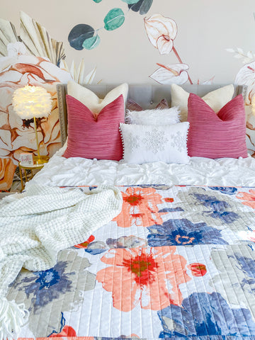 Leah Quilt Coral Gray by Lush Decor