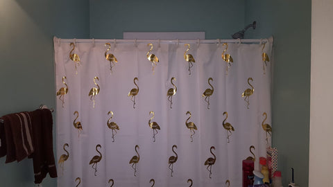 Employee Bathroom with Flamingo Shower Curtain