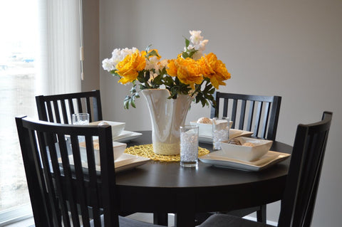 Flowers on a Dining Room Table