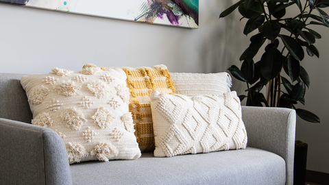 Curated Accent Pillows On Sofa Couch Furniture