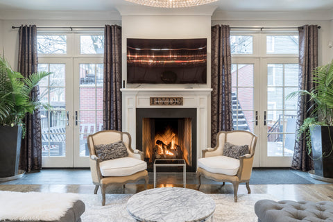 Fireplace in hygge design