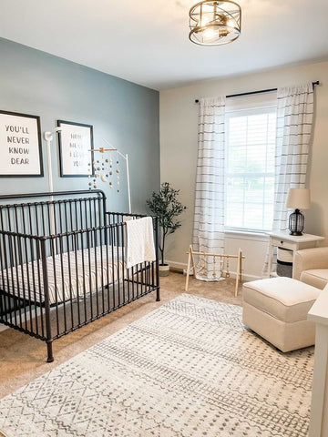 Ombre Stripe Yarn Dyed Curtains by Lush Decor in baby boy's nursery