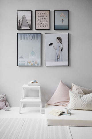 Picture frames in a kid's room