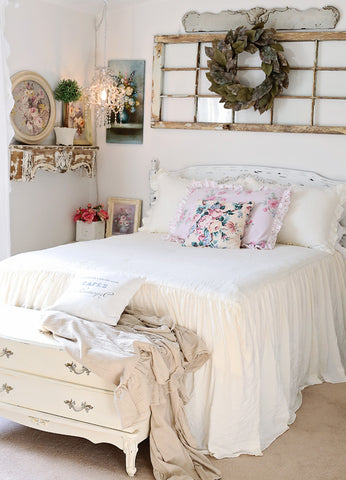 White Ruffle Skirt Bedspread Set by Lush Decor in Master Bedroom