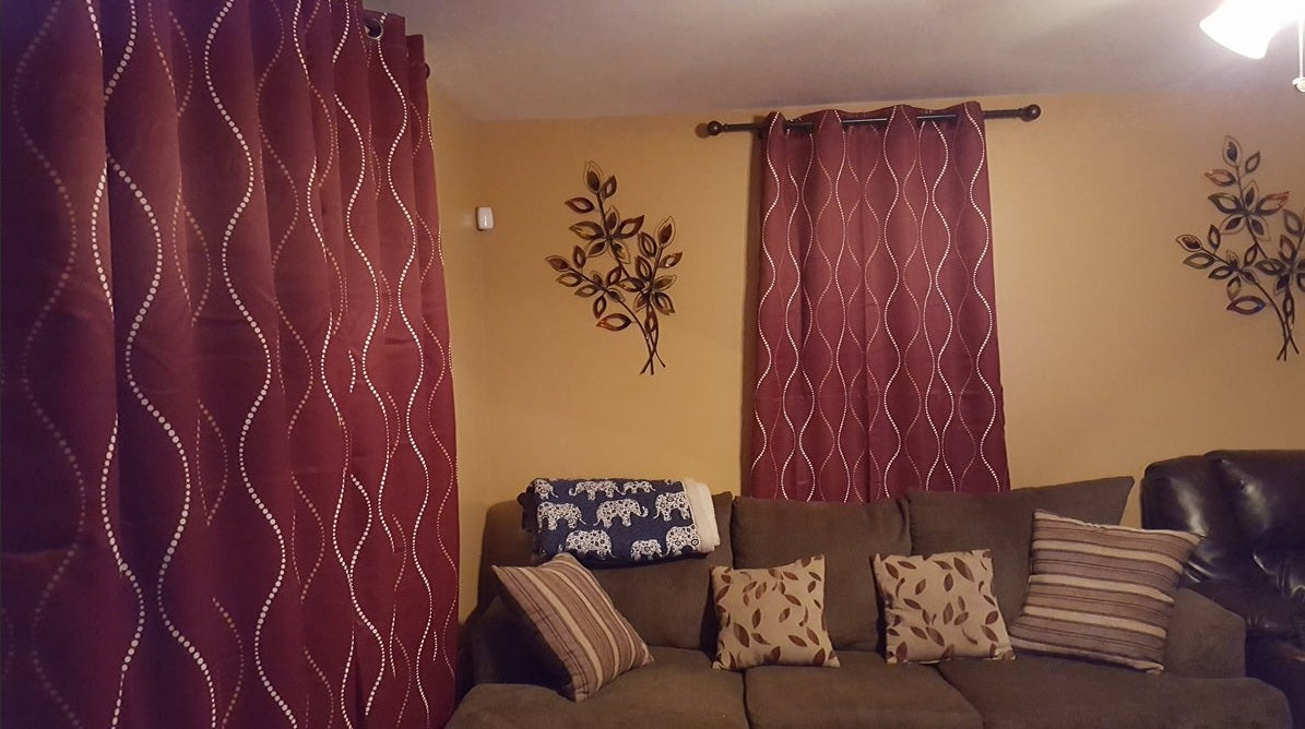 Swirl Curtains in a Warm Living Room