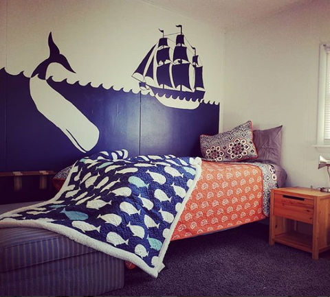 Whale Throw Sherpa in Coastal Bedroom