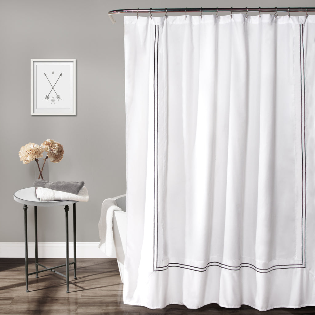 hotel collection shower curtain white gray. Black Bedroom Furniture Sets. Home Design Ideas
