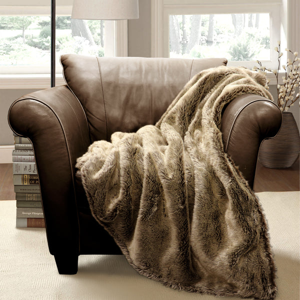 Faux Wolf Fur Throw