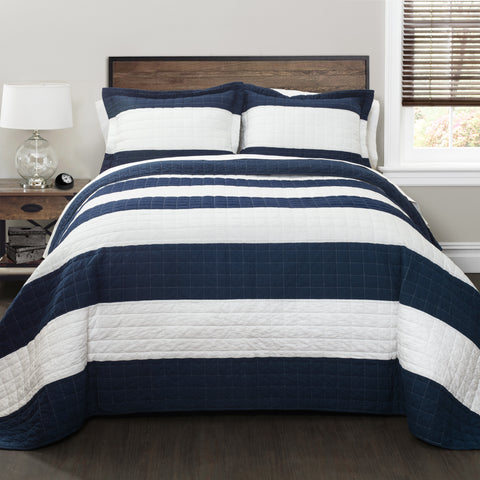 Stripe 2 Piece Quilt Set Twin Size