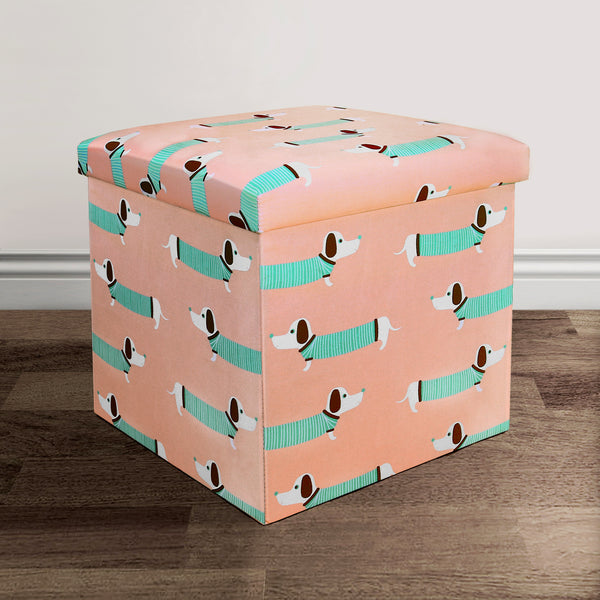 fabric covered ottoman sausage dog fabric covered collapsible ottoman lush 15178 | 16T000493 SAUSAGE DOG FABRIC COVERED COLLAPSIBLE OTTOMAN PINK 15x15x15 848742049655 grande