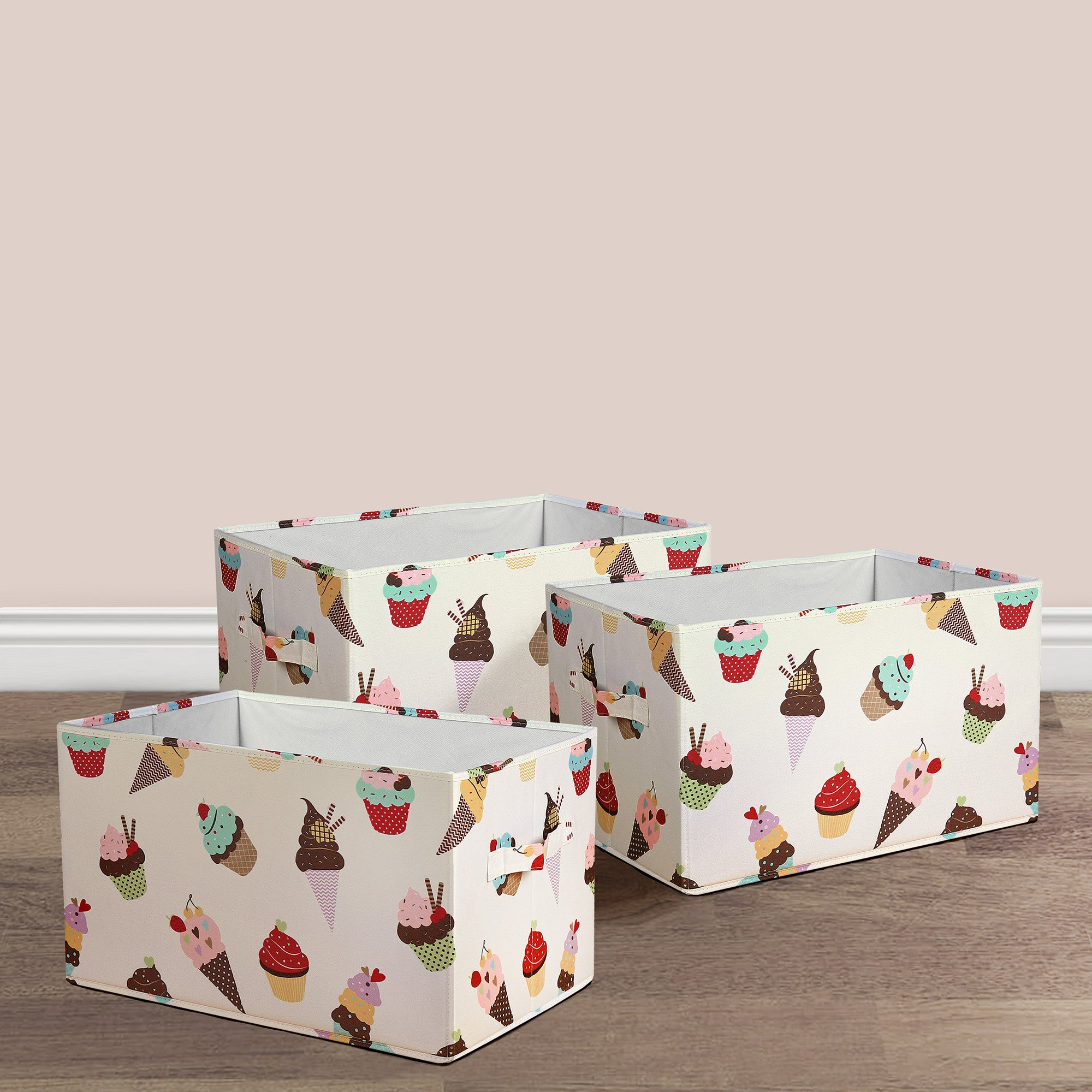 Cupcake Ice Cream Fabric Covered Collapsible Box 3-Piece Set