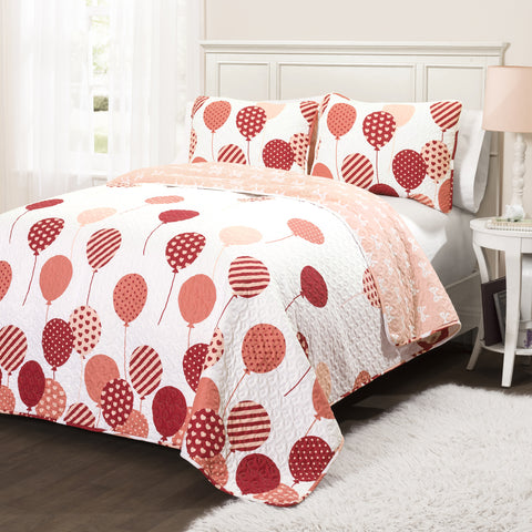 Flying Balloon Quilt 3 Piece Set